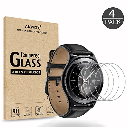 (4-Pack) Gear S2 Tempered Glass Screen Protector, Akwox [0.3mm 2.5D High Definition 9H] Premium Clear Screen Protective Film for Samsung Gear S2 Frontier / Classic / Gear Sport Smart Watch 1.2 Inch (S2 Samsung Screen)