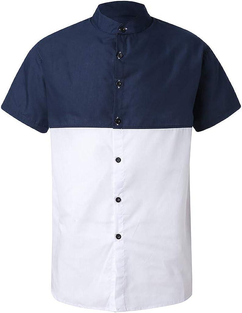 Camisa de Hombre Regular Fit Camisas Hombre Manga Corta a Mano botón Elegante Verano Casual Camisa de Manga Corta impresión Shirts Tops Blanco L: Amazon.es: Ropa y accesorios