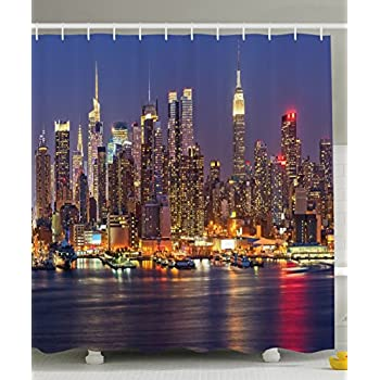 Ambesonne Cityscape Shower Curtain Art Deco NYC New York City Night Skyline Scenery View Artwork Picture Prints Fabric Bathroom Set With