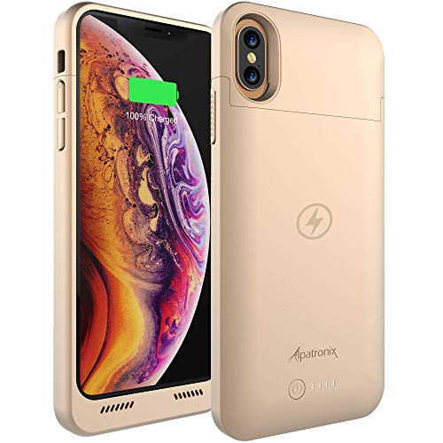 Alpatronix iPhone Xs Max Battery Case, 5000mAh Slim Portable Protective Extended Charger Cover with Qi Wireless Charging Compatible with iPhone Xs Max (6.5 inch) BXX Max - (Gold)