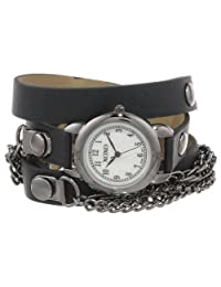 XOXO Women's XO5626 Gunmetal Band with Chains Accent Double Wrap Watch
