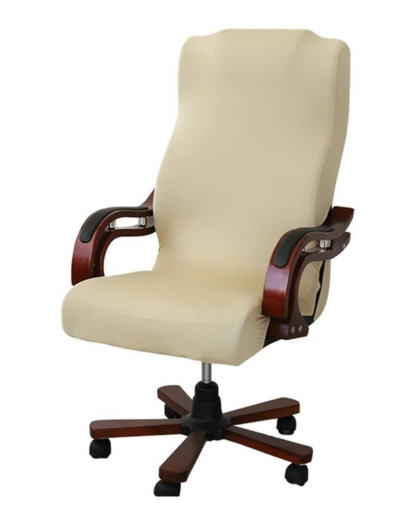 Deisy Dee Slipcovers Cloth Universal Computer Office Rotating Stretch Polyester Desk Chair Cover C064 (champagne)