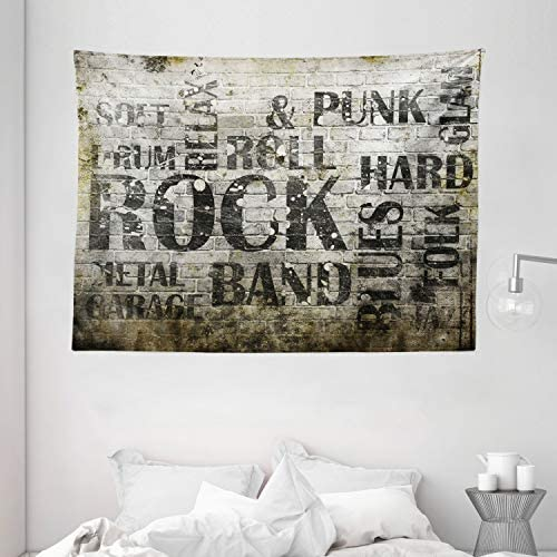 Ambesonne Grunge Tapestry, Music Wall with Punk Jazz Rock Garage Soft Blues Folk Genre Art Murky Graphic, Wide Wall Hanging for Bedroom Living Room Dorm, 80 X 60 , Green Beige