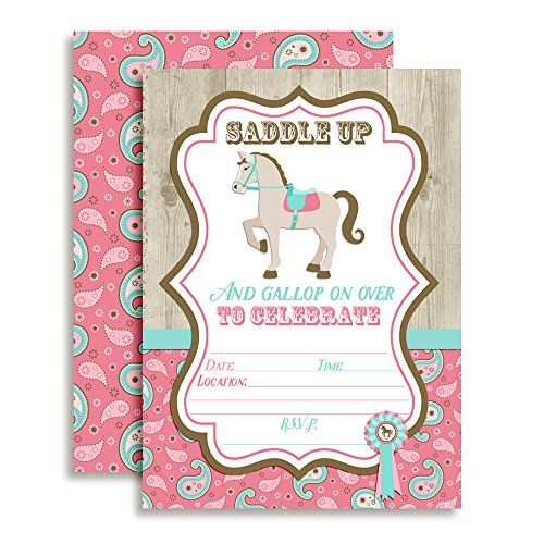 Horse, Show Horse, Birthday Party Fill In Invitations, Set of 10 5 X 7 Cards Including Ten White Envelopes by AmandaCreation by Amanda Creation