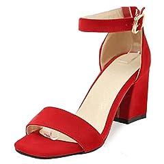 a388f8e65da Easemax Women s Dressy Open Toe Mid Chunky Heels Faux Suede Sandals Shoes - Casual  Women s Shoes