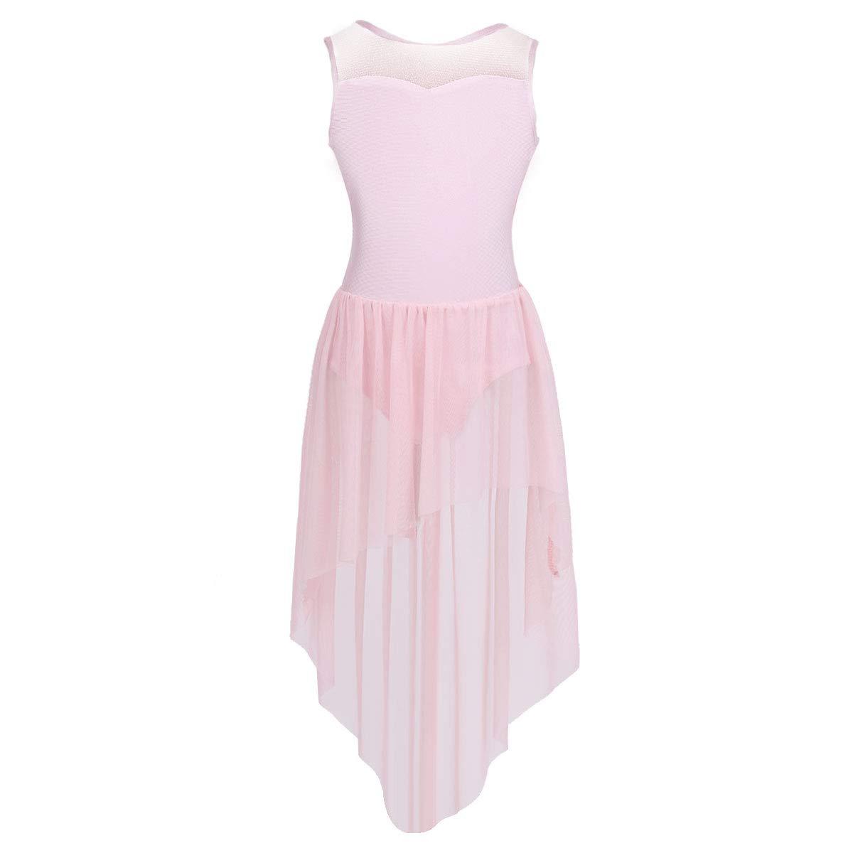 ACSUSS Kids Girls Camisole Ballet Tutu Dress Leotard Gymnastics Dance Bodysuit High Low Chiffon Skirt Dance Costume
