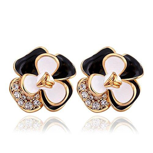 Sweet Earrings Style Rose Gold Earrings Flower Stud Earrings Ladies Of Fashion Earrings