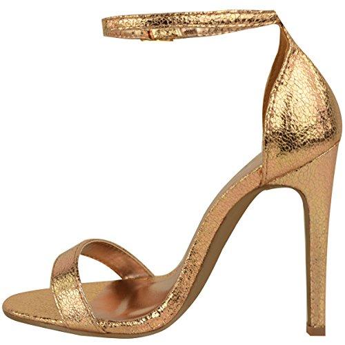 Mode Dorstige Dames Strappy Stiletto Hoge Hak Sandalen Enkelband Manchet Peep Toe Schoenmaat Rose Goud Crinkle Metallic