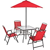 Mainstays Albany Lane 6 Piece Folding Dining Set, Red