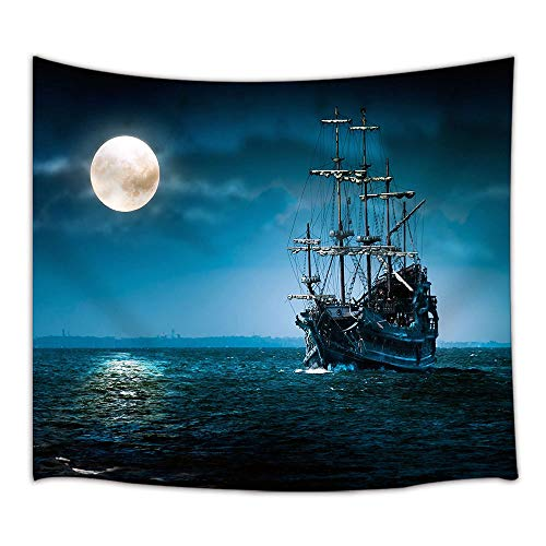 KOTOM Gothic Decor Tapestry, Pirate Ship and Full Moon with Sea Ocean, Wall Art Hanging for Bedroom Living Room Dorm 71X60Inches Wall Blankets