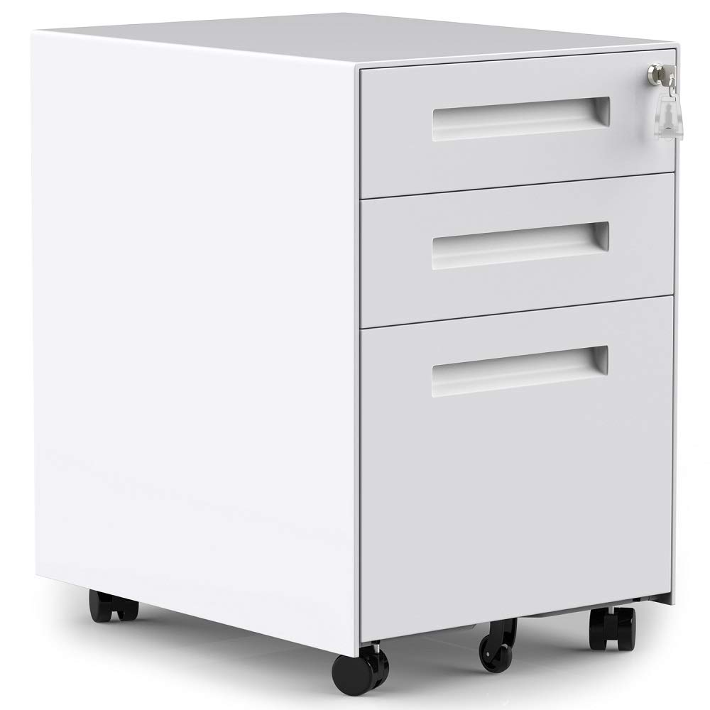 3 Drawers Mobile File Cabinet with Lock, Under Desk White File Cabinet with Wheels, Fully Assembled by ModernLuxe