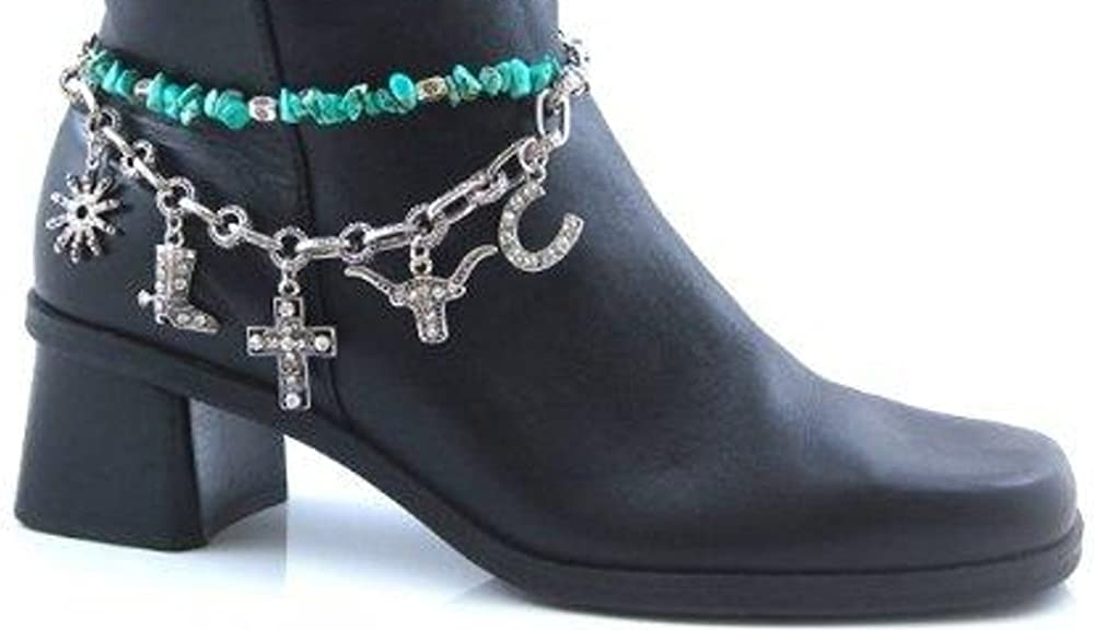 RC Western Boot Chain Jewelry Anklet with Cross Longhorn Horseshoe Spur