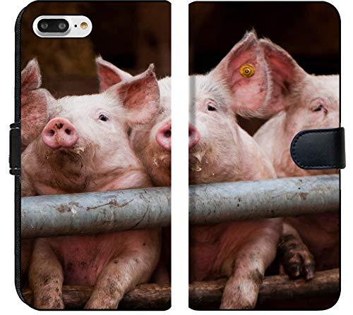 (Apple iPhone 7 Plus Flip Fabric Wallet Case Image of Pig Farm Animal Pork Piglet Pink Meat Mammal Small Livestock Cute Snout Agriculture Young Food)