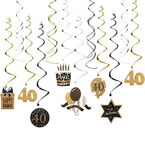 40th Birthday Decoration with Hanging Swirls (15PCS), Celebrate 40 Hanging Swirls with Cutouts(8PCS), Table Décor Star Confetti (100 PCS) and 40th Confetti (100 PCS) for Party Supplies -