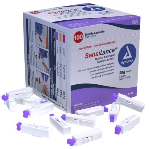 Dynarex SensiLance Safety Lancets Button Activated 28g St 10/100/Cs