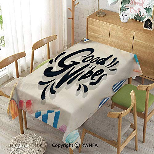 Tablecloth for Dining Room for Rectangle Tables,On The Beach Concept Seacoast Shoreline Vacation Holiday Travel Wellness Theme Decorative,Machine Washable,Multicolor,55
