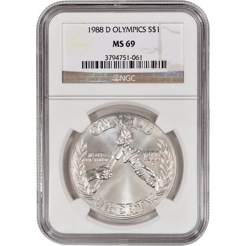 1988 D US Olympic Commemorative BU Silver Dollar NGC MS69