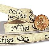 3/8'' X 25 Yards Coffee Beans Printed Cotton Ribbon