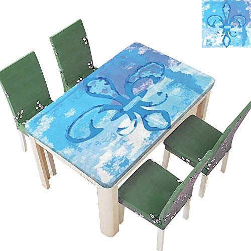 SpillProof Tablecloth Lily Flower Like Frozen Nobility Emblem Queenly Style Print Blue for Picnic,Outdoor or Indoor 52 x 108 Inch (Elastic -