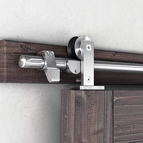 SMARTSTANDARD 6ft Top Mount Sliding Barn Door Hardware Kit – Stainless Steel Heavy Duty Sturdy Barn Door Track – Super Smoothly and Quietly – Fit 36″ Wide Door Panel (T Shape Hanger)