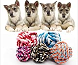 Smdoxi_pet Pets Rope Ball Toy Biting Ball Colorful Squeak Toy Dog Toy Ball 4 Size