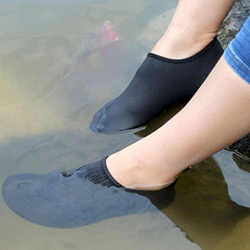 QIMAOO Unisex Strandschuhe Strand Schwimmschuhe Colorful Schnell Trocknend Schuhe Aquaschuhe Badeschuhe Wasserschuhe Surfschuhe Yoga Für Damen Herren Schwarz