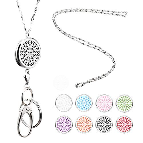 Strong Lanyard Necklace Stainless Steel Beaded Chain Necklace Silver for ID Badge Holder and Key Chains Non Breakaway Inspirational Charms Pendant for Women Nurse Student Diffuser Flower]()