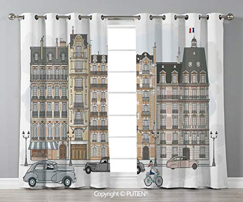 Grommet Blackout Window Curtains Drapes [ Paris City Decor,Illustration of Road Houses and Buildings on Both Sides Street Lamps Lamppost, for Living Room Bedroom Dorm Room Classroom Kitchen Cafe