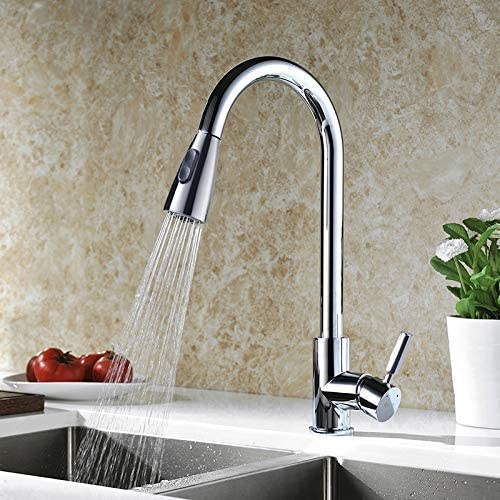 Kitchen Faucet, Kitchen Sink Faucet, Sink Faucet, Pull-down Kitchen Faucets, Bar Kitchen Faucet, Chrome, Stainless Steel, by KVADRAT