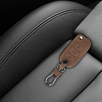 kwmobile Car Key Cover Compatible with VW Skoda Seat VW Skoda SEAT 3 Button Car Key - Synthetic Suede Key Fob Cover Case - Brown: Automotive