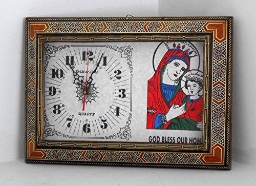 Christian Oriental Wall Clock / God bless our home / St Mary holding Jesus / Home Decorative by Nabil's Gift Shop
