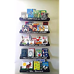 Dr Seuss Book Shelf Set, Floating Book Ledge, Dr Seuss Furniture, Children's Bookcases, Book Storage, Book Organization. Little Library, Nursery Decor, Book Shelves, Nursery Furniture, Wall Book Shelf