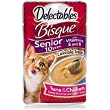Delectables Bisque Senior 10 Years + Lickable Wet Cat Treats , Tuna & Chicken, 1.4 Ounce (Pack Of 12)