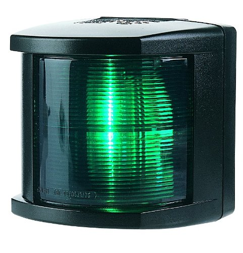 HELLA 002984345 '2984 Series' 12V DC 2 NM Starboard Navigation Light with Colored Outer Lens and Black Housing