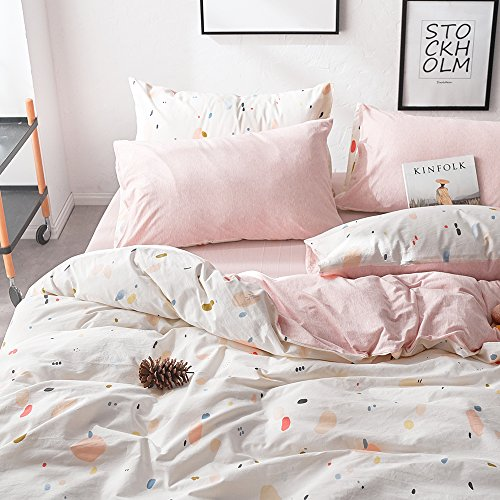 VM VOUGEMARKET Washed Cotton Duvet Cover Set Queen,Cream Pink Jersey Knit Cotton Bedding Set,Girls Home Bedding Set,Ultra Soft Comfy Zippered Luxury Comforter Cover with Corner Ties-Queen,Style 2