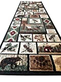 Carpet King Cabin Style Runner Area Rug Rustic Native American Western Country Bear Elk Deer Wildlife Lodge Native Design 386 (2 Feet 2 Inch X 7 Feet 2 Inch)
