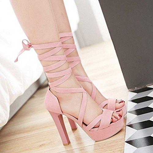 Coolcept Mujer Moda Cordones Sandalias Peep Toe Plataforma Tacon Ancho Zapatos Rosado