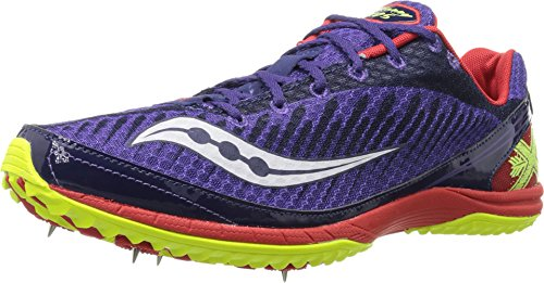 Saucony Men's Kilkenny Xc5 Spike Cross Country Spike Shoe,Purple/Red/Citron,9.5 M US