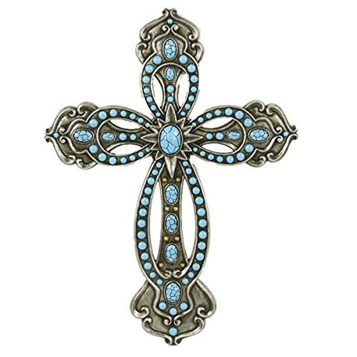 Turquoise Wall Cross (LL Home 12886 Cross with Turquoise Silver Tone)