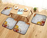 Leighhome Chair Cushions Basketball Streetball and Paint Stains Image on Concrete Wall Rustic Decoration Charcoal O Non Slip Comfortable W25.5 x L25.5/4PCS Set