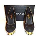 CHANEL-BLACK SUEDE & GOLD TRIM-41/2 INCH GOLD HEEL-SIZE-38.5-NEW (38.5, BLACK)