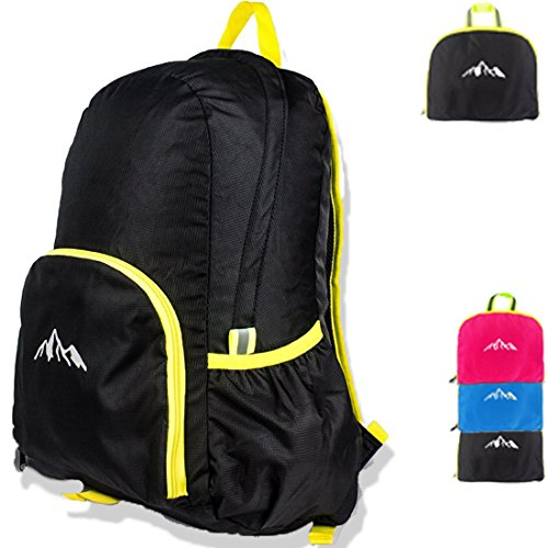 25L Ultra Lightweight Packable Backpack Water Resistant Hiking Daypack,Small Backpack Handy Foldable Camping Outdoor Backpack Little Bag (Black)
