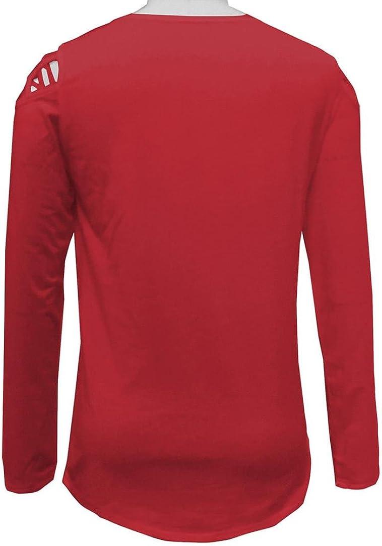 Kobay Damen Langarm Riemchen Kalte Schulter Solide T-Shirt Tops Blusen