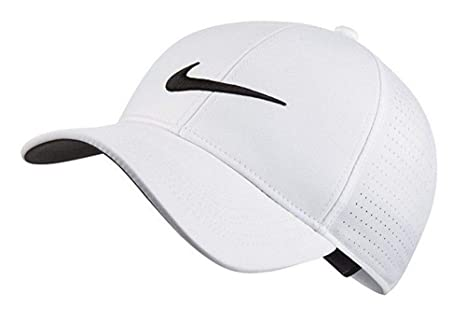 e53cc417473 Image Unavailable. Image not available for. Color  NIKE AeroBill Legacy 91  Perforated Golf White Cap ...