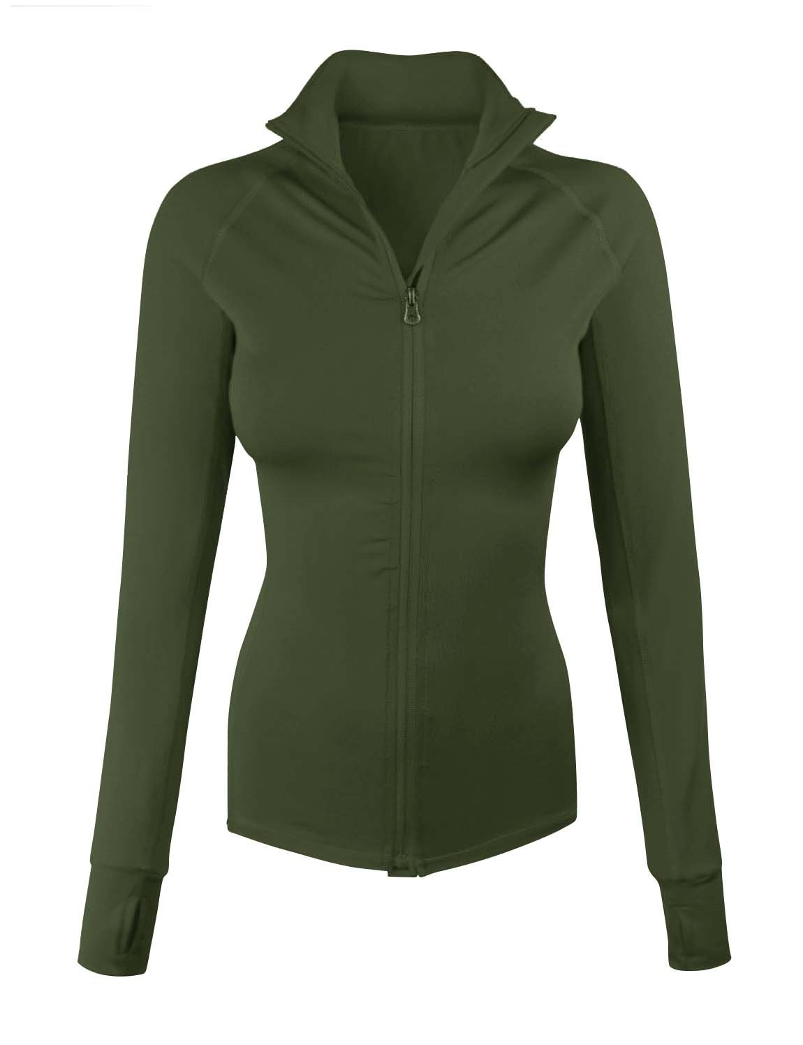 makeitmint Women's Comfy Zip up Stretchy Work Out Track Jacket w/Back Pocket Small YJZ0002_02OLIVE
