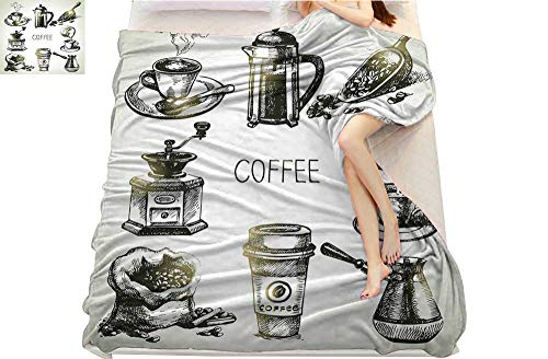 Coffee Peach Grinder (Coffee, Super Soft Lightweight Blanket, Brewing Equipment Doodle Sketch Grinder French Press Plastic Cup Scoop Vintage, Microfiber for Bedding or Sofa, (W70 x L90 Inch Black Yellow)