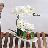 Alicemall Fiori Artificiali di Orchidea con Vaso, Decorazione Floreale per Matrimonio (Bianco)