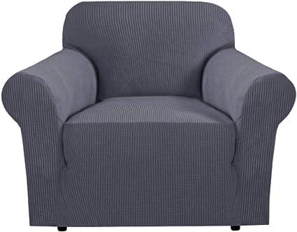 Image ofFundas de sofá elásticas Fundas de asiento de amor de 1 plazas para sala de estar Fundas de sofá Fundas de muebles con fondo elástico, tela jacquard gruesa suave lavable (sofá de 1 plaza, gris)