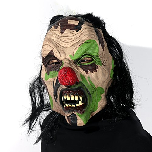 Scary Zombie Clown Mask Halloween Party Costume Decorations Creepy Latex Mask for Adults (black hair -