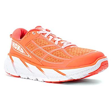 Hoka One One Womens Clifton 2 Running Shoes, Neon Coral/White, 10.5 B(M) US